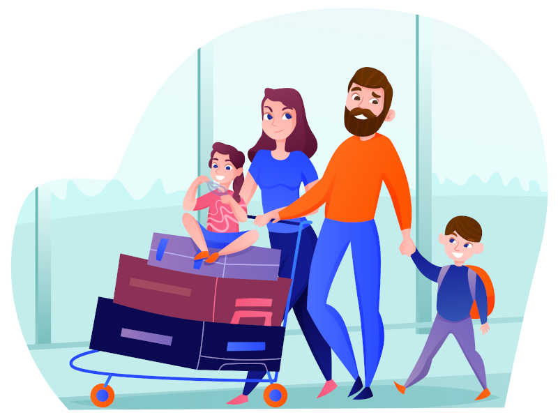 Family orders airport transfer